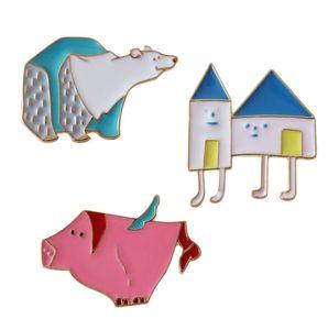 Oso polar Pink Pig House Esmalte duro Broches Prendedores Para niños Mujeres Ropa linda Mochila Sombrero Camisa Sombreros de solapa Joyería de China al por mayor