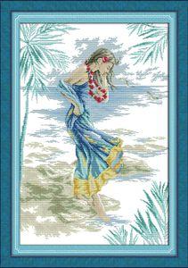 A senhora na praia pinturas de decoração, Handmade Cross Stitch Bordado Needlework conjuntos contados impressão sobre tela DMC 14CT / 11CT