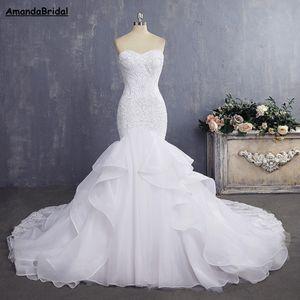 Amandabridal vestido de novia barato sirena sexy vestidos de novia de encaje de la vendimia vestidos de novia 2019 con correas desmontables plisado capa