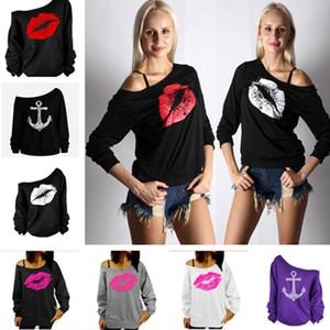 Valentinstag weg Schulter Fleece Sweatshirt Frauen Sexy großen Mund Lippen Anker Sweatshirts Oversize Hip Hop Skateboard Langarm-T-Shirts