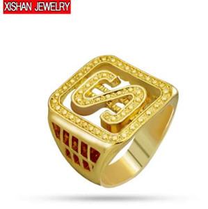 """6-13 الحجم الكامل الهيب هوب الذهب اللون إلكتروني """"s"""" دولارات خواتم روك رجل بلينغ الدائري للرجال مجوهرات"""
