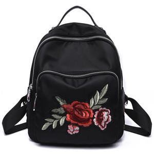 Zaino multifunzionale ricamo donne zaino 3D Dragonfly strass Bagpack anti furto ragazze mini bagpack nero