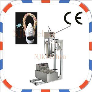 Livraison Gratuite Commercial Usage Manuel Acier Inoxydable Espagne Churros Maker Machine avec 5pcs Buses et friteuse churros gratuitement