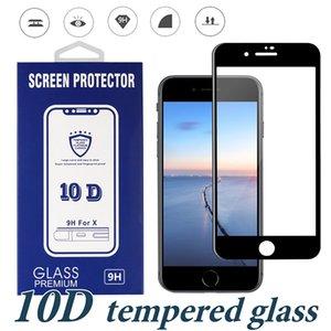Voller Kleber-ausgeglichenes Glas für Iphone XS maximales XR 8 Plus 10D kurvte volle Abdeckungs-Schirm-Schutzkante zum Rand-Schutz mit Kasten