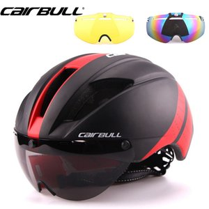 3 Lens 280g Speed Aero Road Bicycle Helmet Cycling Bike Sports Safety Helmet Racing in-mold Road Bike Cycling Goggles red
