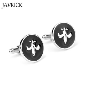 JAVRICK Mens Round Black Fleur de lis Wedding Party Shirt Cufflinks Cuff Links Gifts New