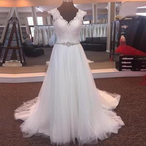 Estilo do país do vintage lace com decote em v boho vestido de noiva com faixa de cristal sweep trem praia vestidos de noiva vestidos de noiva 2018 plus size