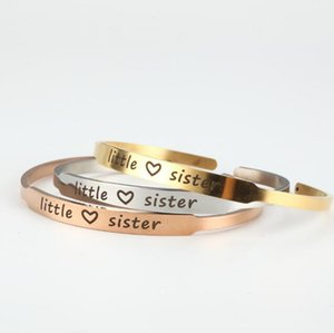 Free engraving three colors fine Simple 'Little Sister' Stainless Steel Inspiration Bracelet Open Cuff Bracelet For Women Girls