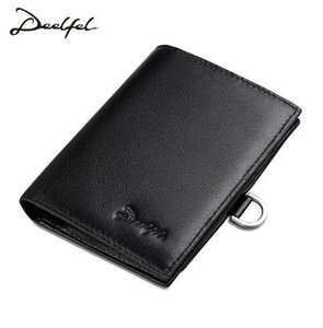 Deelfel New Genuine Leather Men Wallets Sho t Vintage Cow Leather Card Holder Pocket Purse Standard Holders Wallets