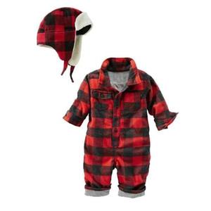 Outono bebê meninos vermelho xadrez manga longa algodão macacão chapéu moda cavalheiro jumpers macacões infantis roupas recém-nascidos 17j701