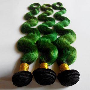 لهجة أومبير الحياكة البرازيلي الجسم موجة الشعر اللحمة الإنسان 8-26inch نيو ستار الأوروبي الهندي ملحقات الشعر 1B / مل 3pcs الخضراء ذرف لا لا متشابكة