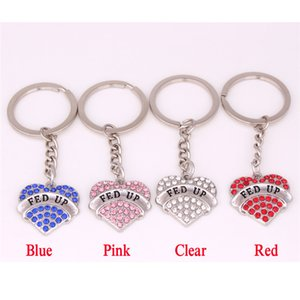 NEW Design Female Heart Key Chain FED UP Written Beautiful Crystals Popularity Birthday Gift Zinc Alloy Provide Dropshipping