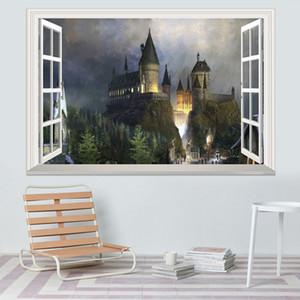الخيال للإزالة قلعة ملصقات الحائط للأطفال 3d النافذة عرض مائي ماجيك كلية قلعة ملصقات الحائط ديكور الفن جدارية خلفية 50 * 70 سنتيمتر