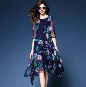 Весна и лето новая европейская станция печати тяжелое шелковое платье, свежие шелковые ткани свободные Большой маятник средний и длинный бесплатная доставка