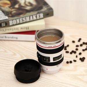 Nueva taza de 400 ml de acero inoxidable con tapa de lente de la cámara regalos Nueva fantástico taza de café taza de té de la novedad Caneca Lente Copas Vasos HH-C23