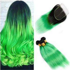 # 1B / Green Ombre 브라질의 인간의 머리카락 묶음 뭉치 다크 루트 옹 브르 그린 버진 헤어 3 번들 거래 4x4 레이스 클로저