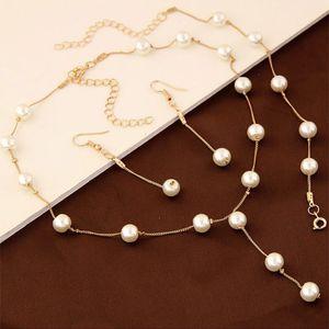 Conjunto de joyería dulce para oficina lady elegante collar de perlas de imitación pulsera pendiente conjunto para mujer envío gratis