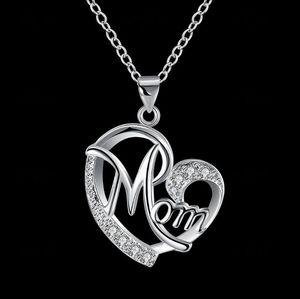 أزياء شكل قلب رسالة أمي قلادة قلادة مع الماس جودة عالية أمي عيد الترقوة سلسلة عيد الأم المعلقات هدية