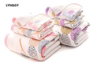 Banyo için LYNGY Yeni Yapraklar Gazlı bez Pamuk Kumaş Havlu Seti Banyo Havlu Yetişkinler için Kadın / Çocuk Yüz Havlusu