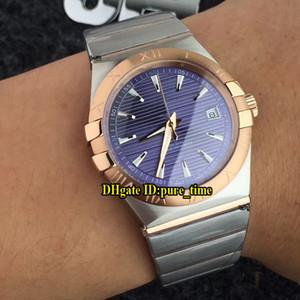 Новая Дата Созвездие Синий Циферблат Япония Miyota Автоматические Мужские Часы Розовое Золото Сталь Два Тона Группа Мужские Bbusiness Часы