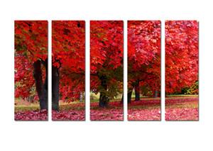 5 Stücke Moderne Leinwand Malerei Wandkunst Das Bild Für Heimtextilien Roter Baum Landschaft Druck Auf Leinwand Giclee Kunstwerk Für Wanddekor