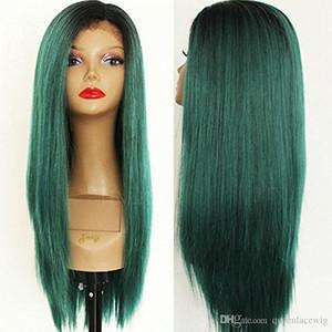 Partie centrale Ombre Vert Soyeux Droite Longues Perruques Résistant À La Chaleur Sans Colle Synthétique Avant de Lacet Perruques avec Bébé Cheveux De Haute Qualité