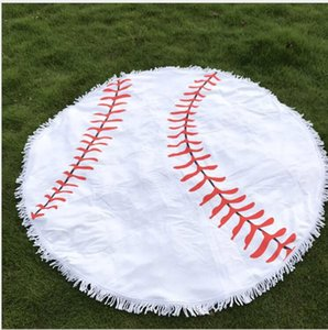 150cm Sports Style Beach Towel Baseball Softball Polyster Round Blanket with Tassel Printed Shawl Towel Women Swimming Bath Yoga Mat best