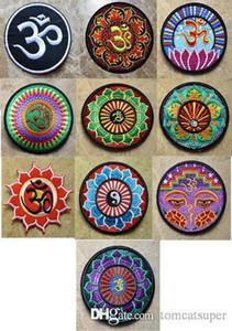 10 tipos de Lotus Aum OM infinito hinduism hindú de yoga trance hoja indio hierro en remiendos, cose en apliques, de tela, 100% Calidad