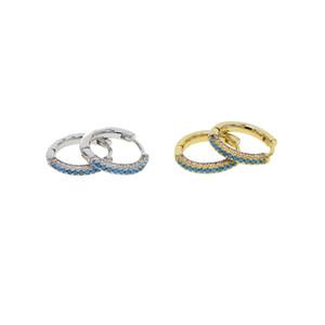 Blue turquoise & white cubic zirconia round 13mm hoop earring Huggie hoope multi piercing fashion women earbone jewelry