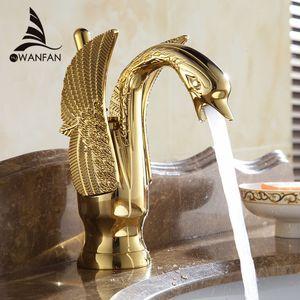 Basin Faucets Nuevo diseño Swan Faucet Bañado en oro Lavabo Faucet Hotel Lujo Cobre Gold Mixer Taps Grifos fríos y calientes HJ-35K