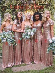 Vestidos de dama de honor largos de lentejuelas de oro rosa 2018 vestidos de dama de honor mixtos brillantes vestidos de invitados de boda hechos a medida
