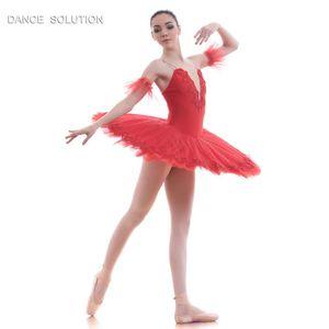 Red Spandex Bodice Pre-profesional Ballet Tutu Pancake Dance Costume Stage Performance Tutu Girl Women Ballet Disfraces