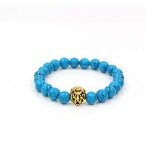 Mens Natural Blue Howlite Stone 구슬 팔찌 Pulseras Hombre 패션 부처님 Leo Lion Head Charm Bracelet