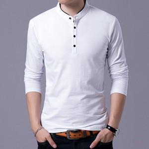 LEFT ROM высокого класса Мужчины Чистый цвет Длинный рукав Тонкая рубашка для тела / мужской досуг удобный Подставка воротник рубашка с длинным рукавом