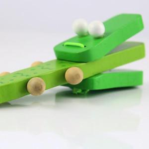 كارتون خشبي جديد قرع الآلات الخضراء التمساح التعامل مع الصنوج تدق لعبة موسيقية هدية الأطفال الطفل الخشب الموسيقى اللعب