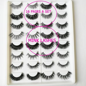 16 paires un ensemble de différents styles cils de cheveux de vison maquillage cils de vison naturels Cross long sexy faux cils maquillage quotidien vrai cils de vison