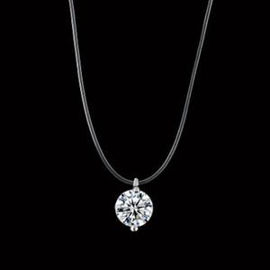 Transparente Pesca Línea Mujeres Gargantilla Collar invisible cadena de 8 mm de cristal colgante Gargantilla en la línea de regalos de Navidad Cuello