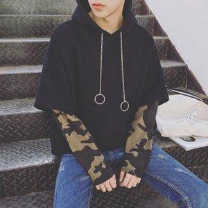 FJUN sudadera 2 piezas 2018 jerseys de manga larga con capucha nueva moda sudaderas con capucha hommes patchwork hip hop raya negro sudaderas con capucha hombres