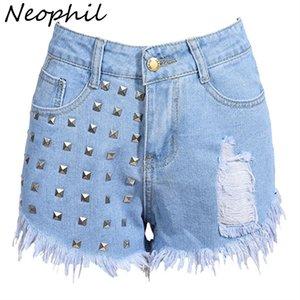 Neophil 2018 Womens Tassel Rivet Rasgado Solto Shorts Jeans Cintura Alta Estilo Do Punk Do Vintage Sexy Hot Ladies Denim Calças Curtas P1603