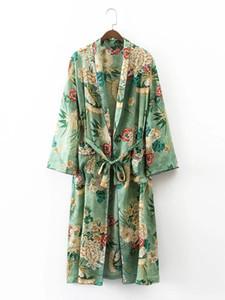 Mode Euro Style manches longues femmes pleine fleur Imprimer long vert Open Stitch Manteau Casual Charming femmes printemps manteau