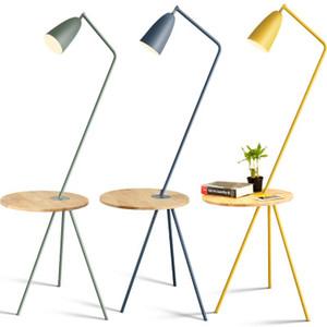 북유럽 거실 침실 머리맡 연구 플로어 램프 색상 간단한 커피 테이블 마카롱 호텔 나무 바닥 램프