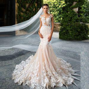 Photos Milla Nova réelle sirène robe de mariée en dentelle à mancherons Champagne Appliqué robes de mariée sur mesure Illusion corsage robe de soirée