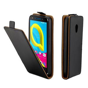 Funda de cuero para Coque Alcatel U5 4G HD 5047 Fundas con ranura para tarjeta con tapa vertical para Alcatel U5