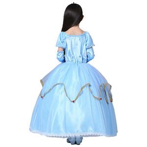 2018 2 cores azul e amarelo menina festa de halloween vestidos de cosplay vestidos de natal para a menina princesa vestidos