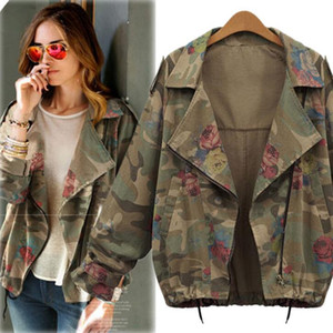 Plus Size Primavera Autunno Donna Zipper Coat Turn-down Colletto Bat-ala manica Florals Camouflage Jacket Lady's Cotton Outwear Cappotti C3267
