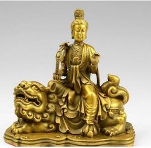 10 Tibet Brass Ruyi Manjusri Kwan-yin Guanyin Bodhisattva Fu Foo Dog Lion Statue