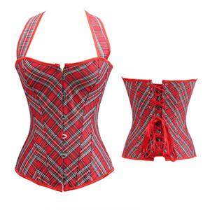 Aizen Plus Korsetts und Bustiers Plaid Bauch Big Size Korsett Victorian Günstige Brocade Red Halter Korsett Tops Exotic Female 6XL