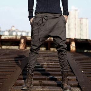 High streetwear cross pants men fashion 2018 sagging cool drop crotch trousers men Joggers Feet pants hanging crotch