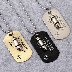 Tête de balle pour homme pendentif colliers 3 couleurs armée américaine carte militaire charme chaînes de perles pour les femmes rappeur bijoux hip hop