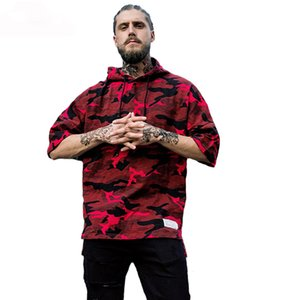 Oversized Camouflage Hoodies Men 2017 Autumn Camo Half Sleeve Streetwear Cotton Hip Hop Mens Pullover Hooded Sweatshirts